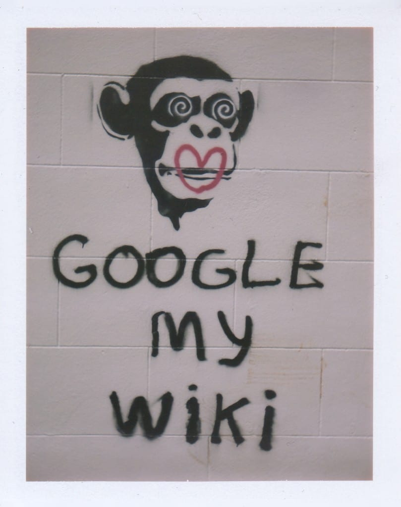 Conceptual artist Xvala's Celebrity Chimp's Google My Wiki - street art @ Bathing Ape on Melrose and Edinburgh in Los Angeles