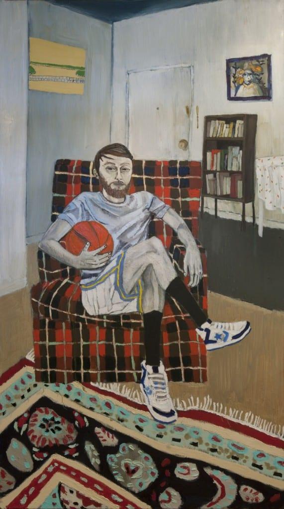 """Raffi Kalenderian, Self Portrait (Hoop it Up), oil on canvas, 84 x 47"""", 2006"""