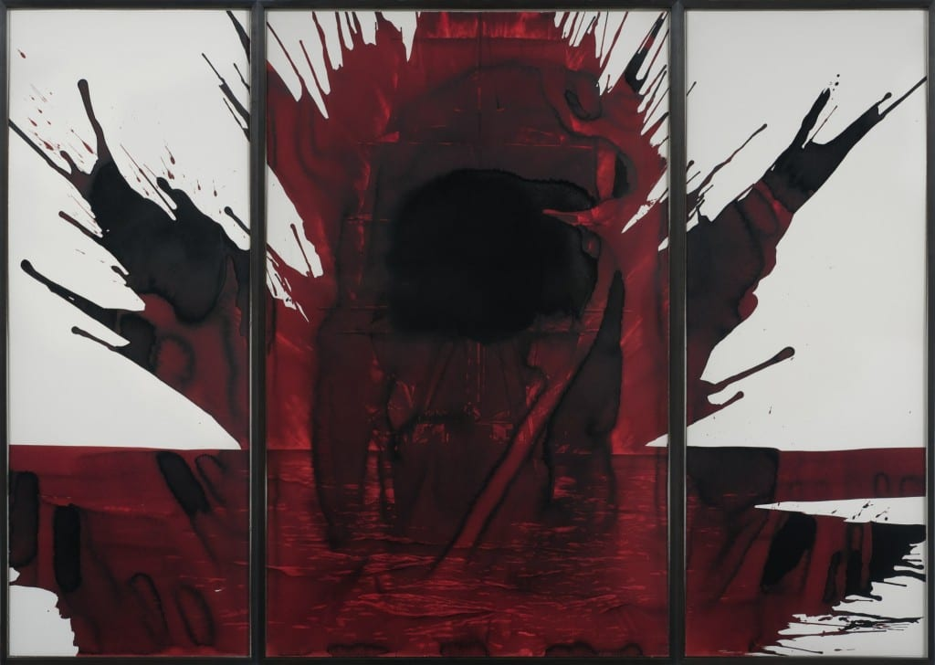 """Tony de los Reyes, Eclipse, red blister on paper, triptych, 77 x 108.75"""", 2008"""