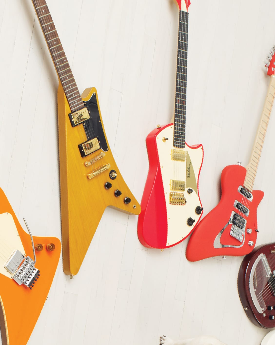 From left, Hendrick Generator, Gibson Moderne, Campbell America, Nelsonic Transitone, Andreas Shark.