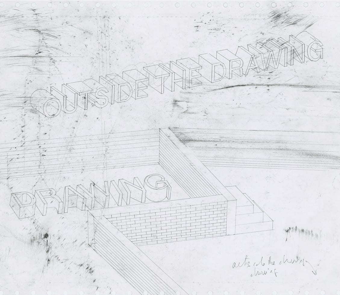 """Roberto Calbucci, Drawing time_(Study for comic abstraction based on and unrelated to Martin Heidegger's """"The concept of Time""""), charcoal and pencil on paper."""