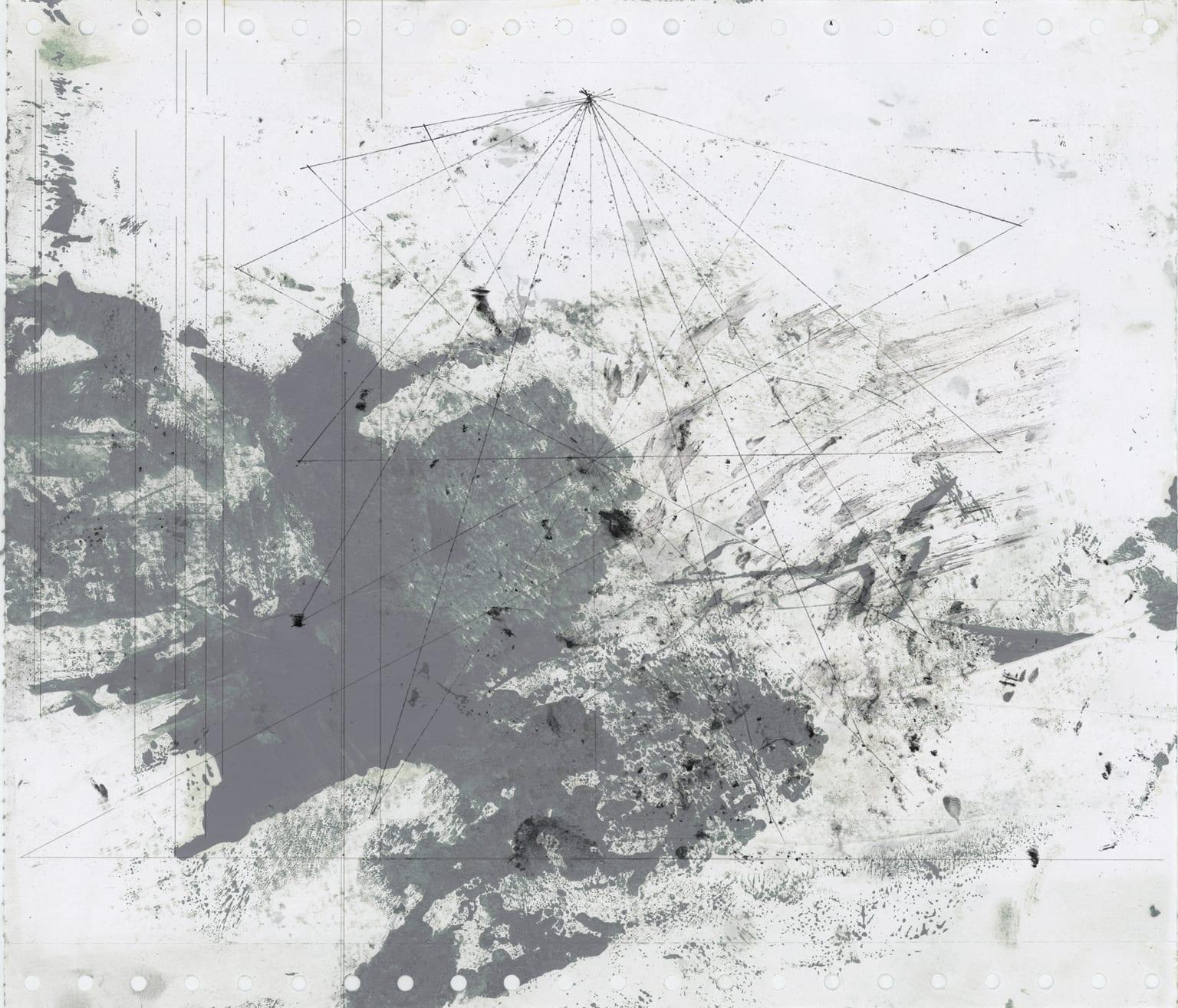Roberto Calbucci, Astratto +/- E, oil, ink and pencil on paper, 2012.