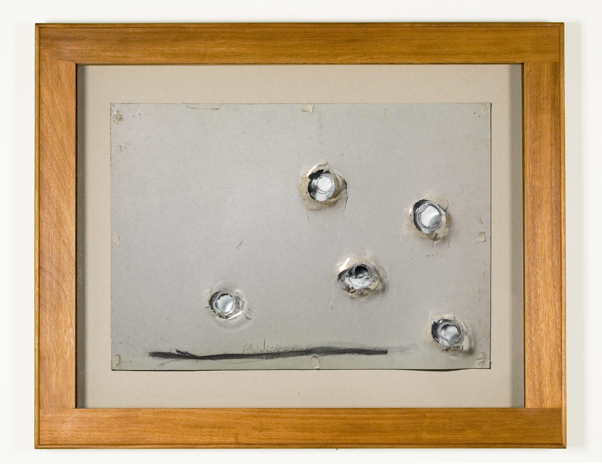 """Jordi Alcaraz, Thieves of Drawings (I), drawing on cardboard, plexiglass, and wood, 32 ⅛"""" x 40"""", 2010."""