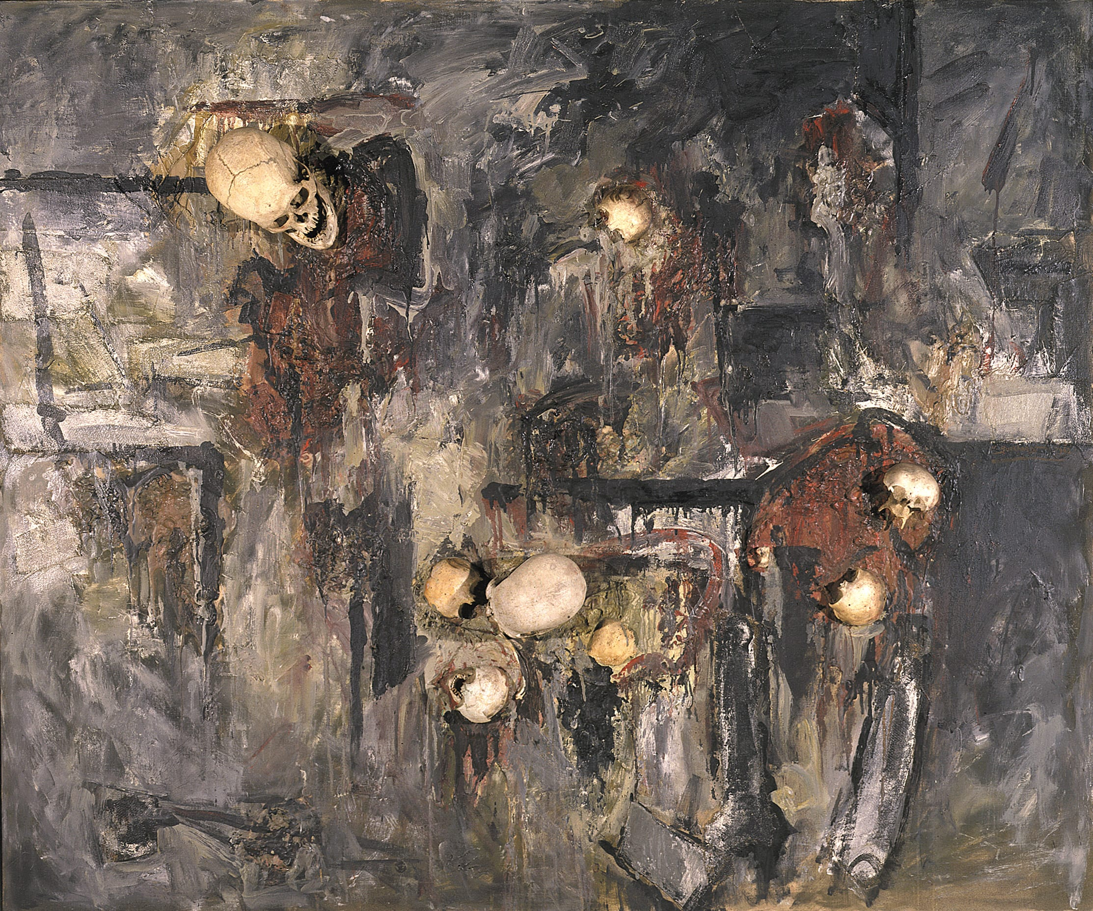 "Hans Burkhardt, Lang Vei, oil, assemblage with skulls on canvas, 60"" x 72"" x 8"", 1967-68."