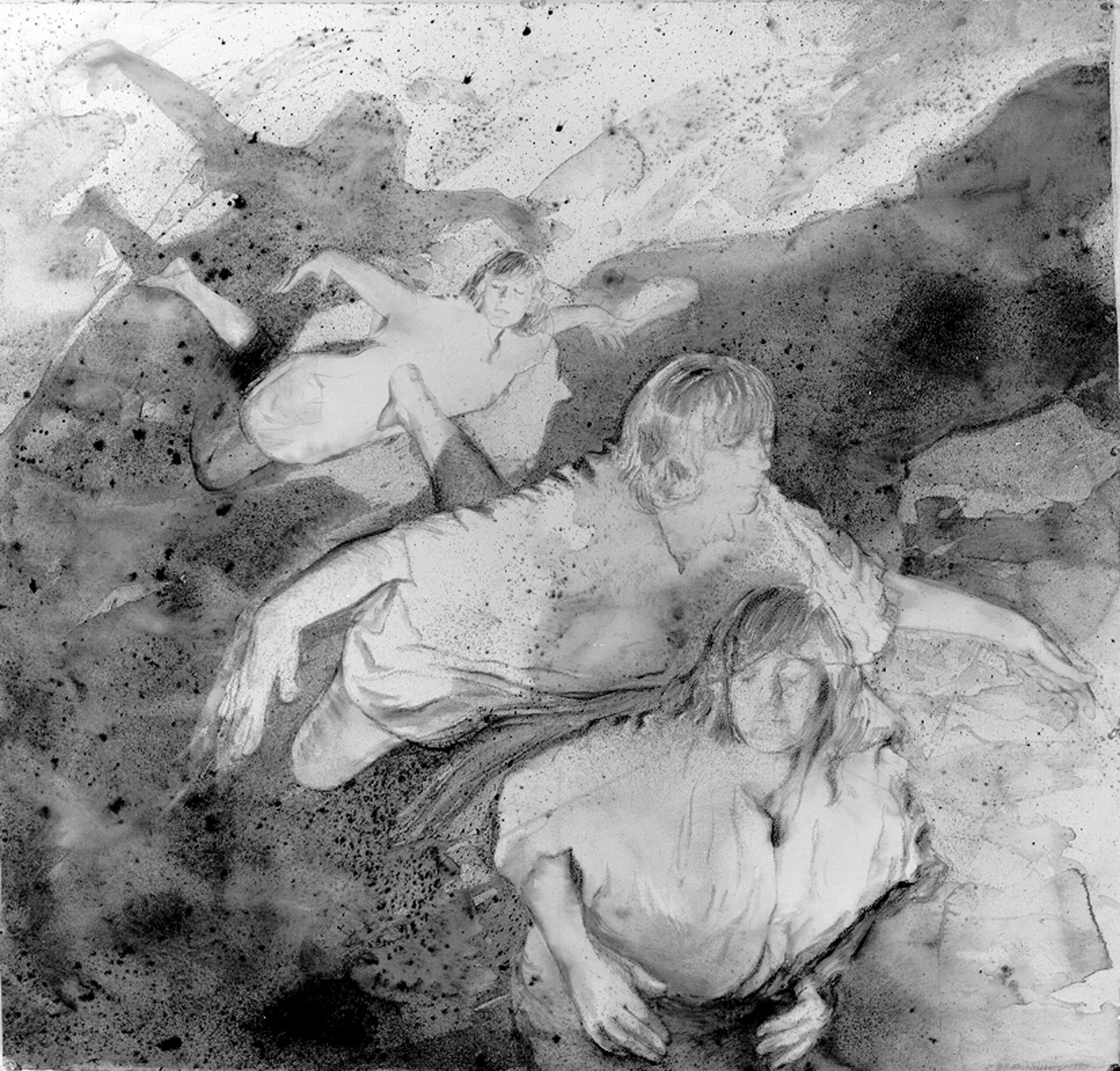 "Ruth Weisberg, Flying & Dreaming, mixed media, 45"" x 46"", 1990."