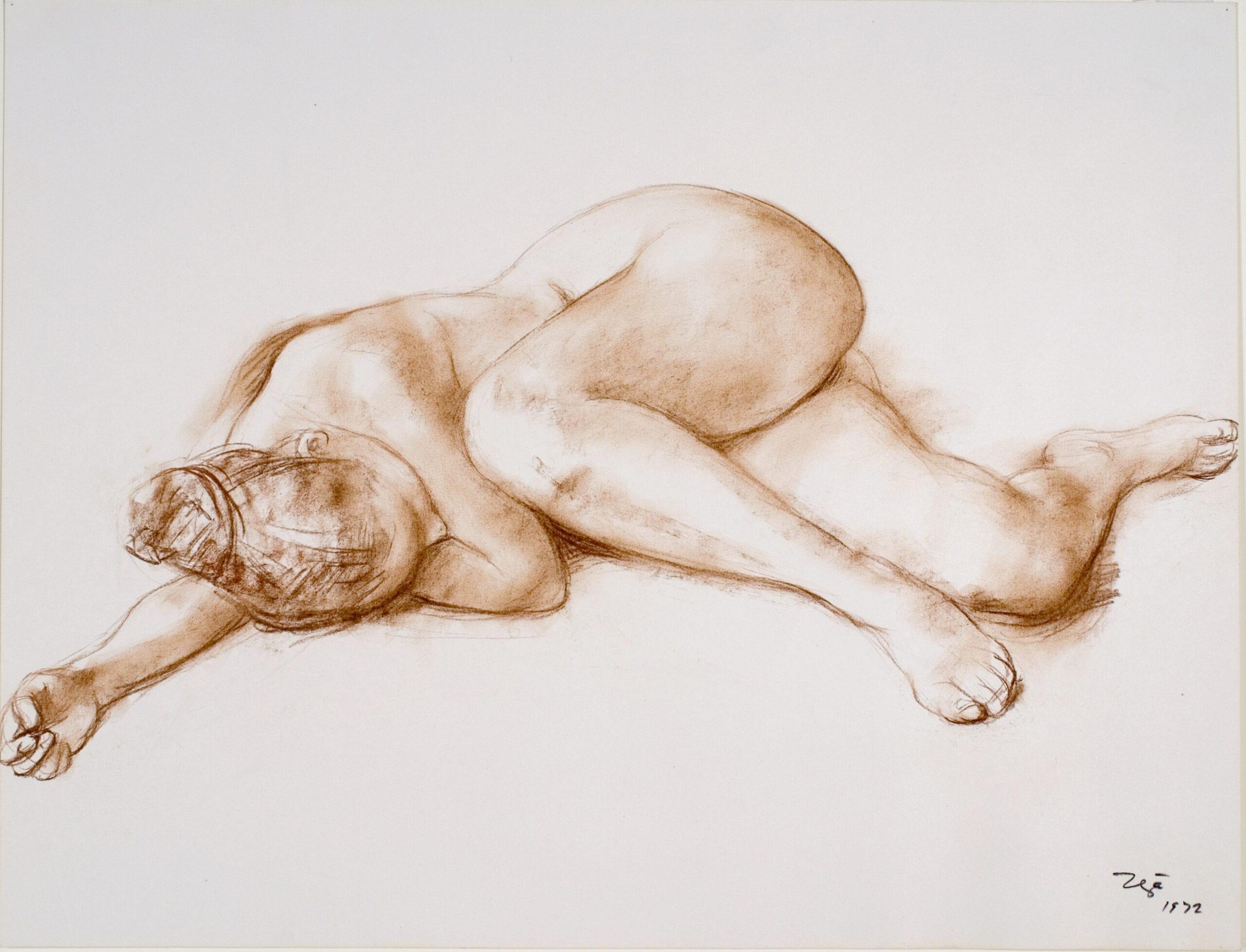 "Fransisco Zúñiga, Desnudo Reclinado(Reclining Nude), drawing on paper, 19 ½"" x 25 ¾"", 1972."