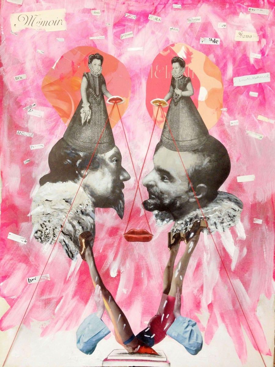 Vincent Junier, Un seul mot de toi (A single world of you), collage, 770 mm. x 570 mm., 2013