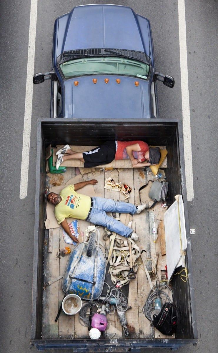 "Alejandro Cartegna, Car Poolers #1, archival inkjet print on photorag paper, 20"" x 12.3"", 2011-2012."