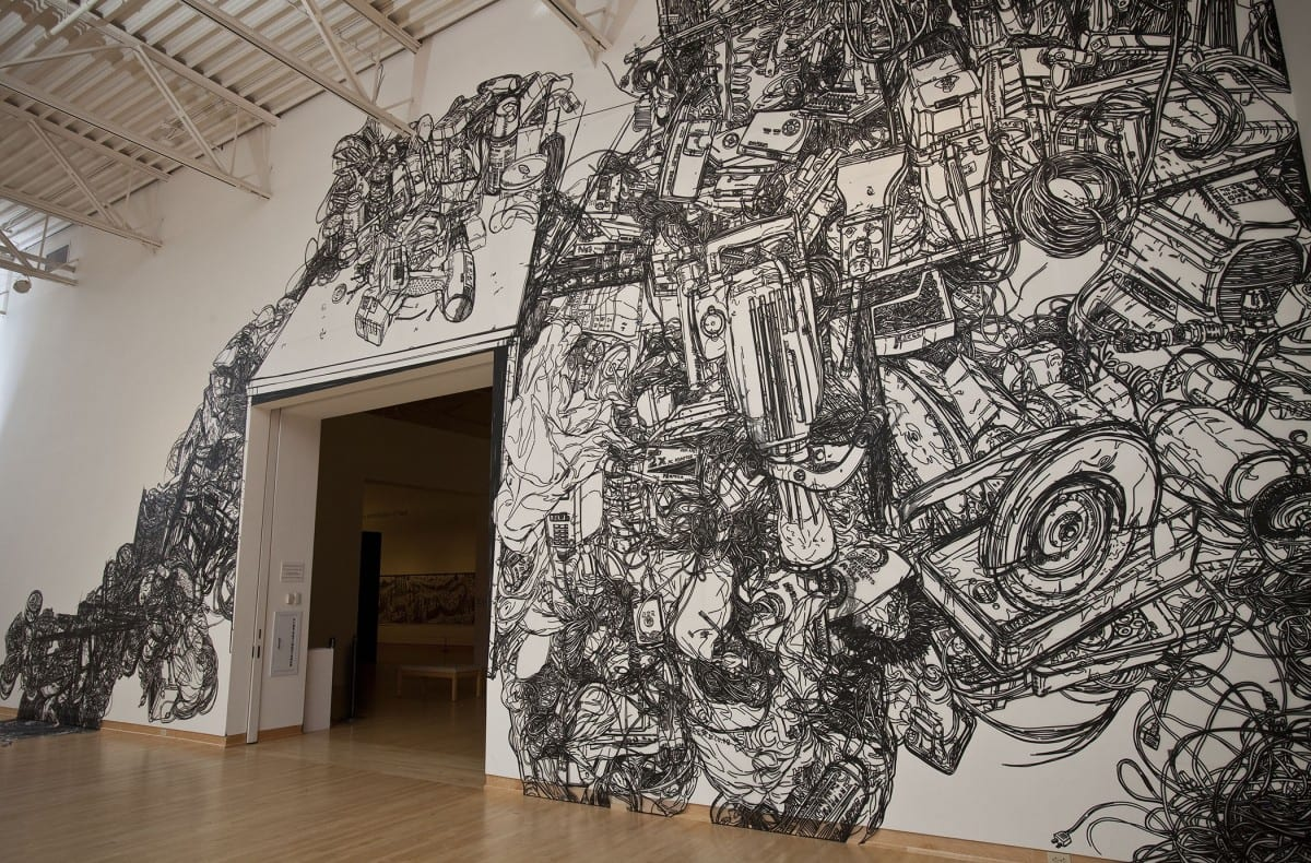 Heeseop Yoon, Still life #12, 1/4'' Black Masking tape on Mylar, Dimension Vary(23' x 48'), 2012