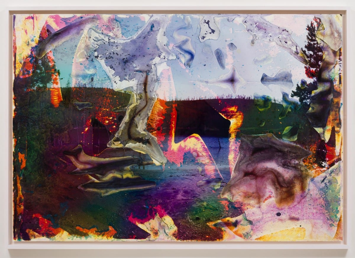 "Matthew Brandt, Rainbow Lake WY 1, c-print soaked in Rainbow Lake water, 72"" x 105"", Framed: 76 ⅜"" x 109 ½"", 2013"