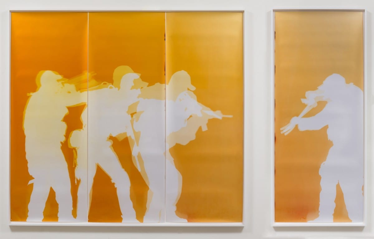 "Farrah Karapetian, Stacking Your Door, unique chromogenic photogram (from performance), Panel 1 of 2: 98 ¼:"" x 107 ¾"", Panel 2 of 2: 98 ¼"" x 42 ¼"" 2013"
