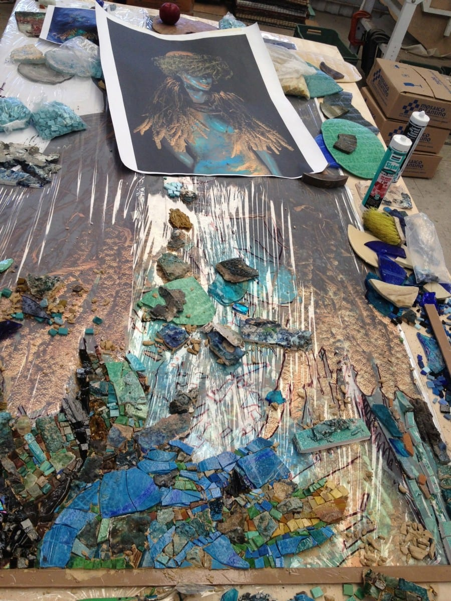 Detail of the mosaic process, 2013. Image courtesy of the artist.