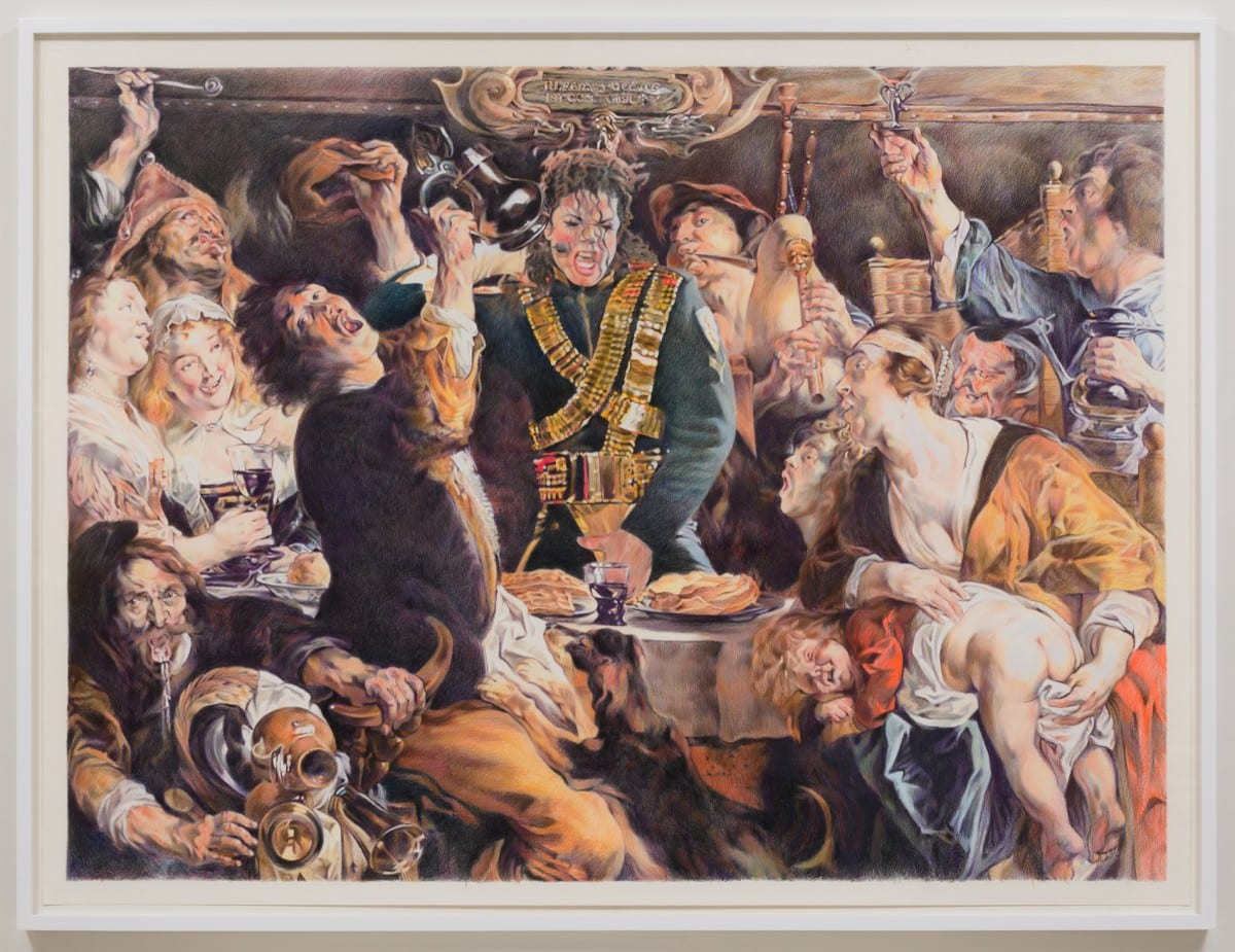 "Eric Yahnker, Epiphany (The King Grabs Crotch), colored pencil on paper, 72"" x 96"", 2013"