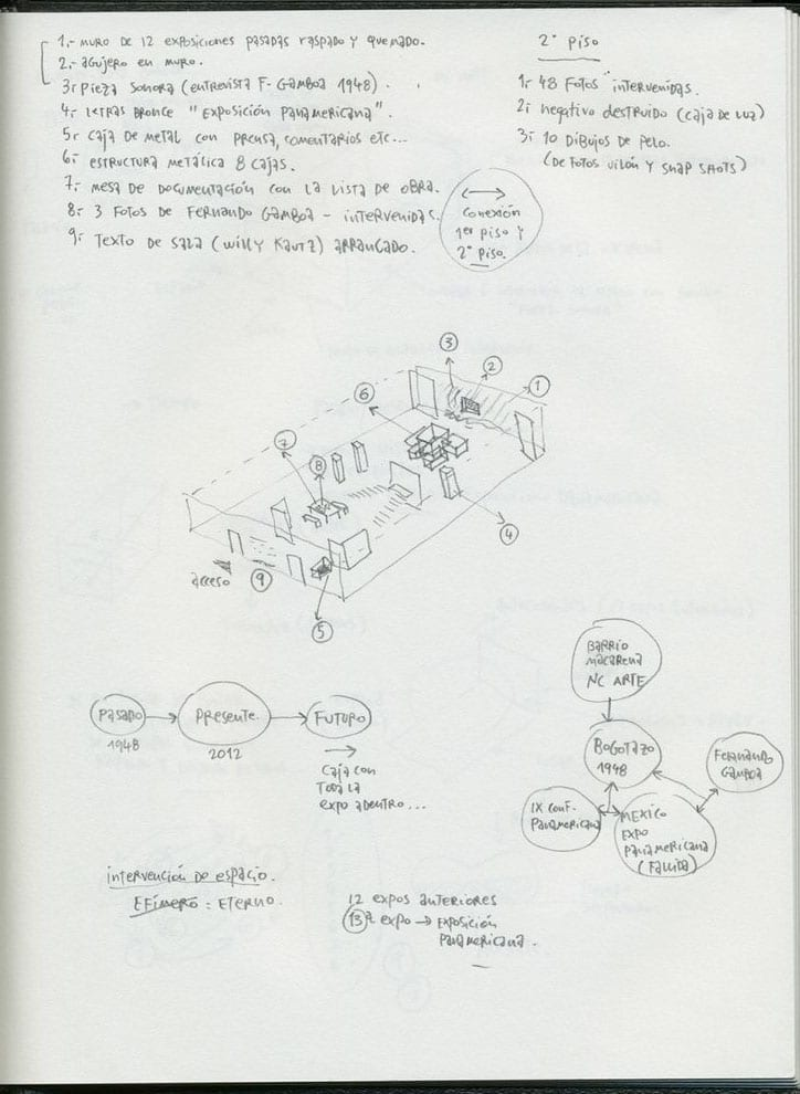 Images of the artist's notebook, courtesy of Gabriel de la Mora, 2012.