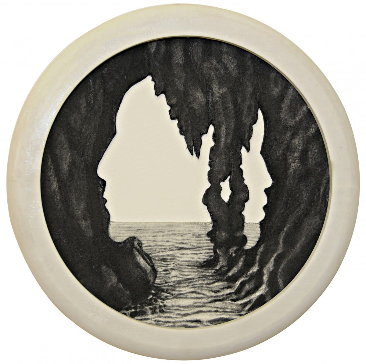 "Colette Robbins, The Fortress, graphite painting on paper, custom 3D printed frame, 6.5"" diameter, 2013"
