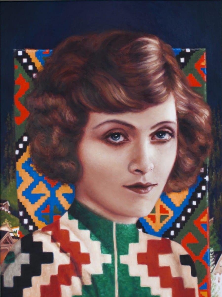 "Alison Blickle, Black Forest Portrait, oil on canvas, 24"" x 18"", 2013"
