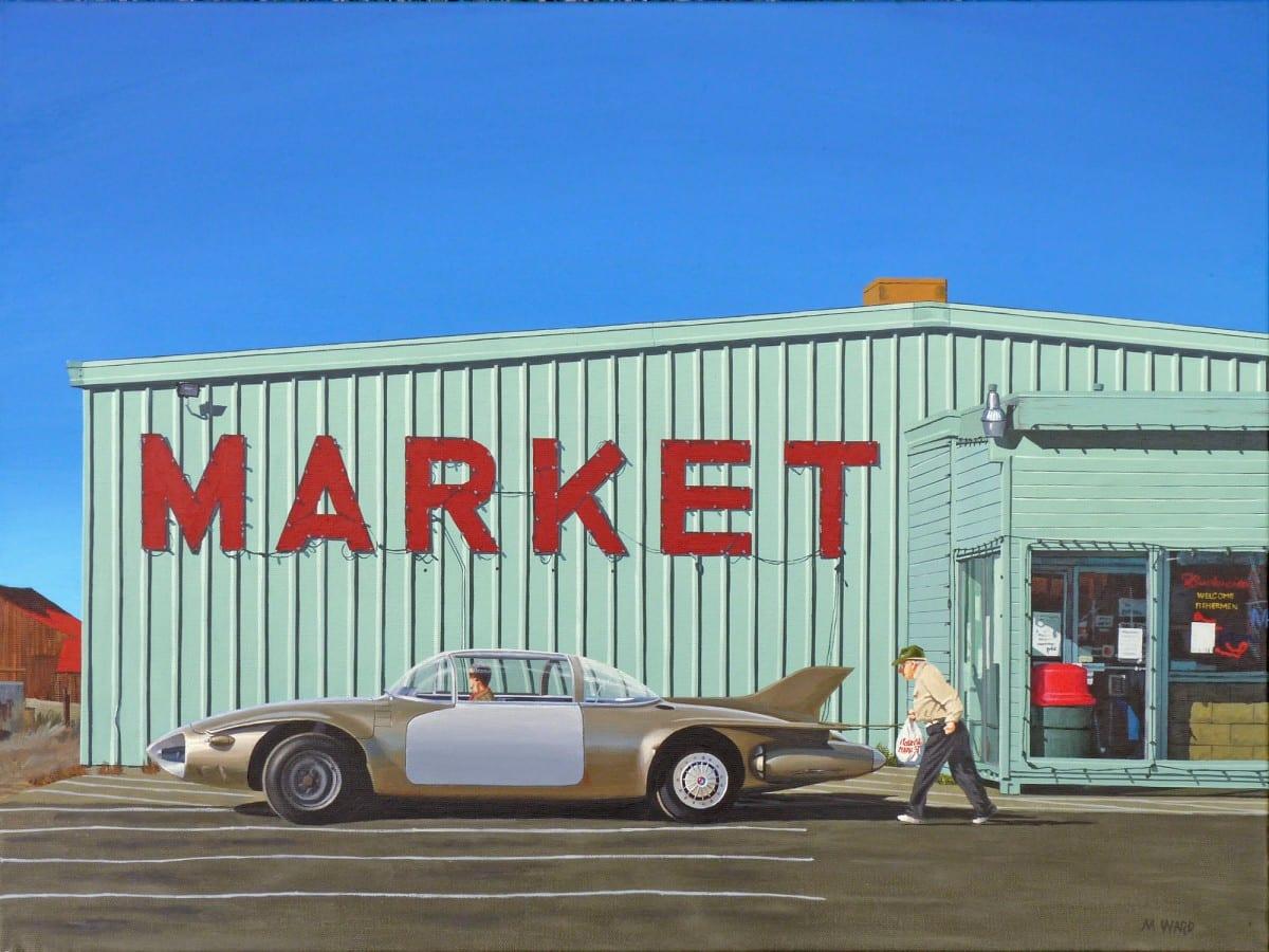 "Michael Ward, In the Future We Still Must Shop (Santa Ana, CA), acrylic on canvas, 18"" x 24"", 2012"