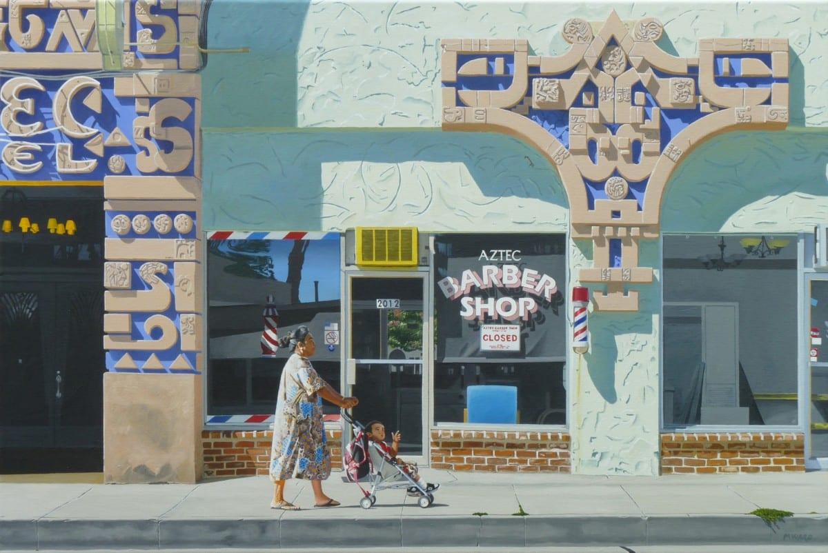 "Michael Ward, Twilight of Empires (Aztec Hotel, Monrovia, CA), acrylic on canvas, 24"" x 36"", 2012"