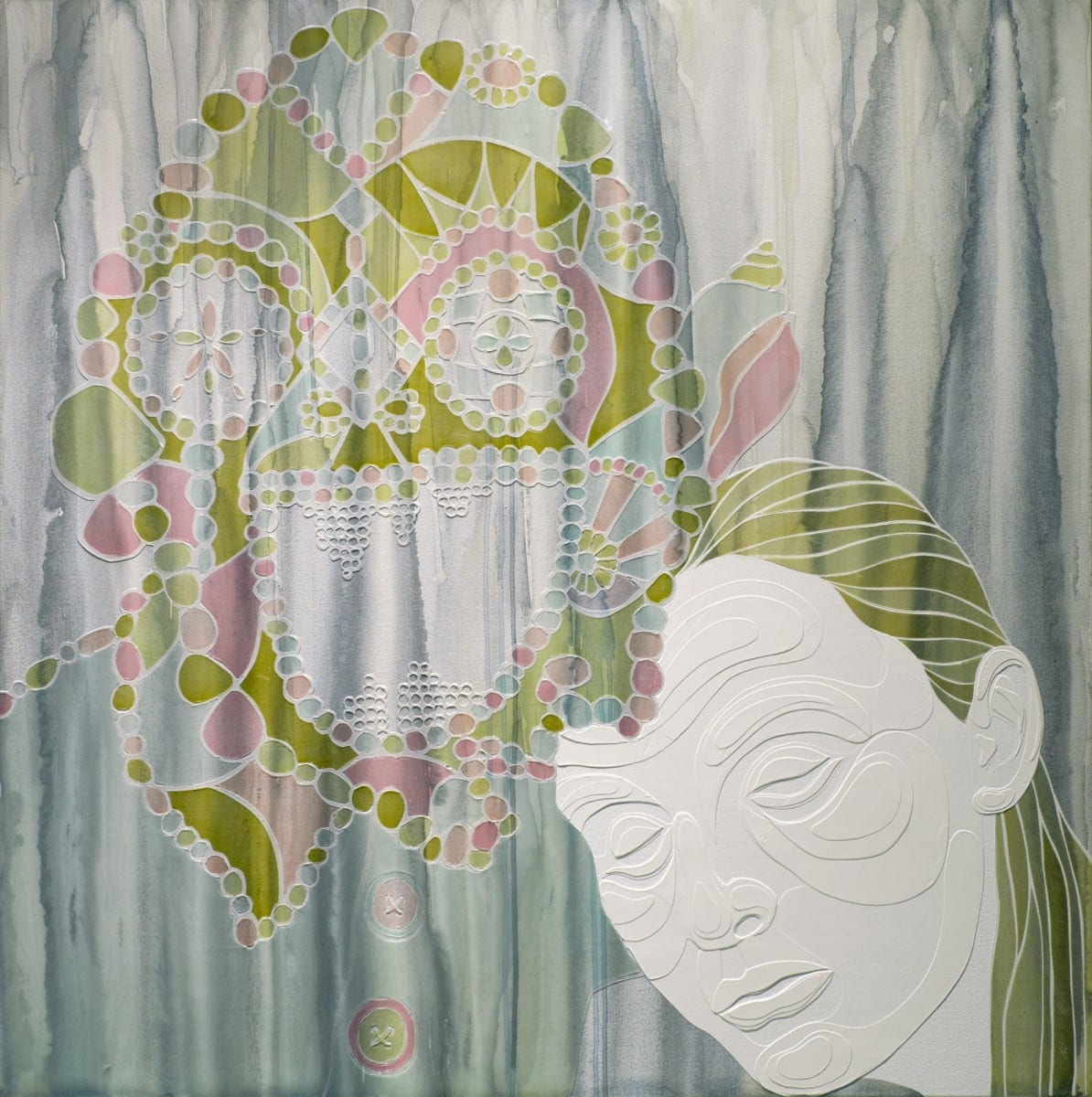 "Wendell Gladstone, You, Me, Him, acrylic on canvas, 36"" x 36"", 2013"