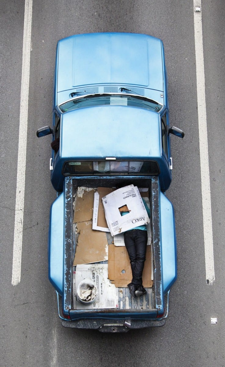 "Alejandro Cartegna,  Car Poolers #19, archival inkjet print on photorag paper, 20"" x 12.3"", 2011-2012."