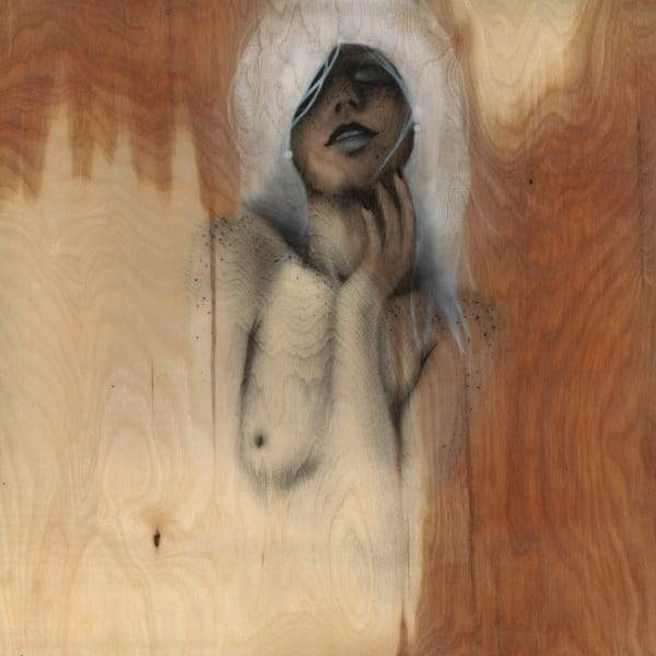 David Santiago, Maya, mixed media, charcoal and pastel on birch wood, sealed in high gloss resin, 60cm x 60cm