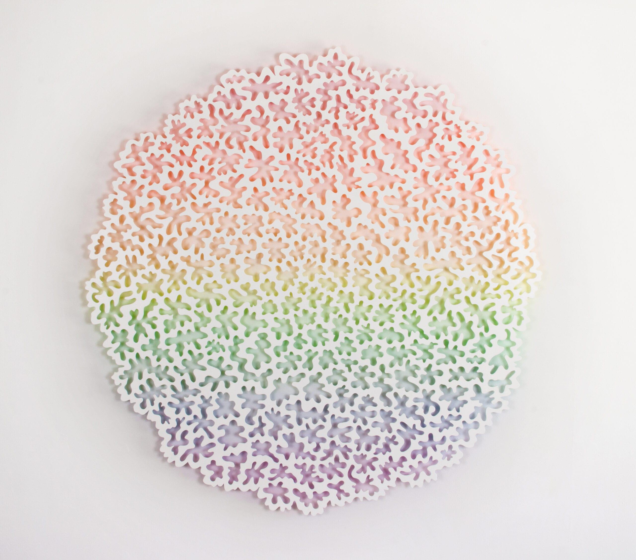 "Jen Stark, Glow, Aluminum, powder coat paint, acrylic paint, 48"" x 48"" x 1"", 2013."