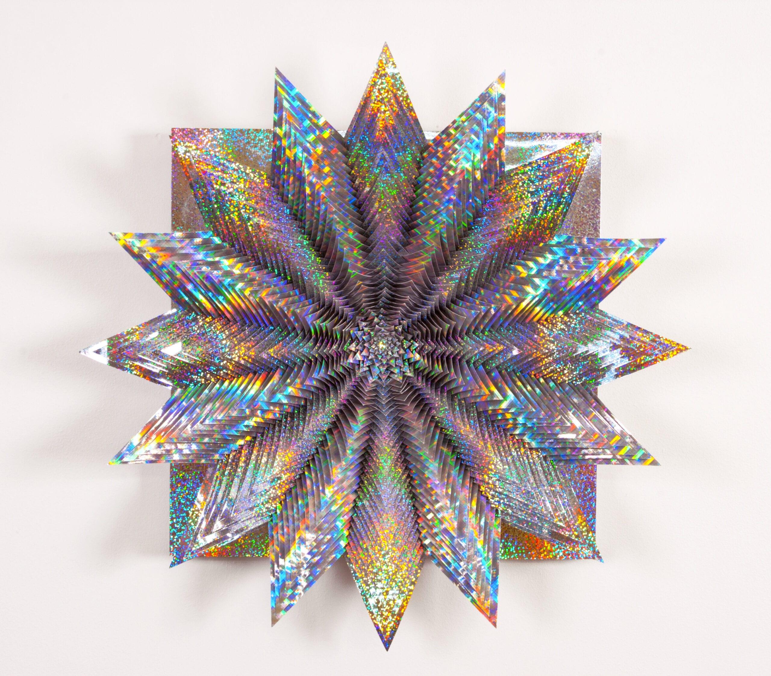 "Jen Stark, Holographic Spectrum, Holographic paper, wood, glue, acrylic paint, 15""x 15""x 4"", 2013."