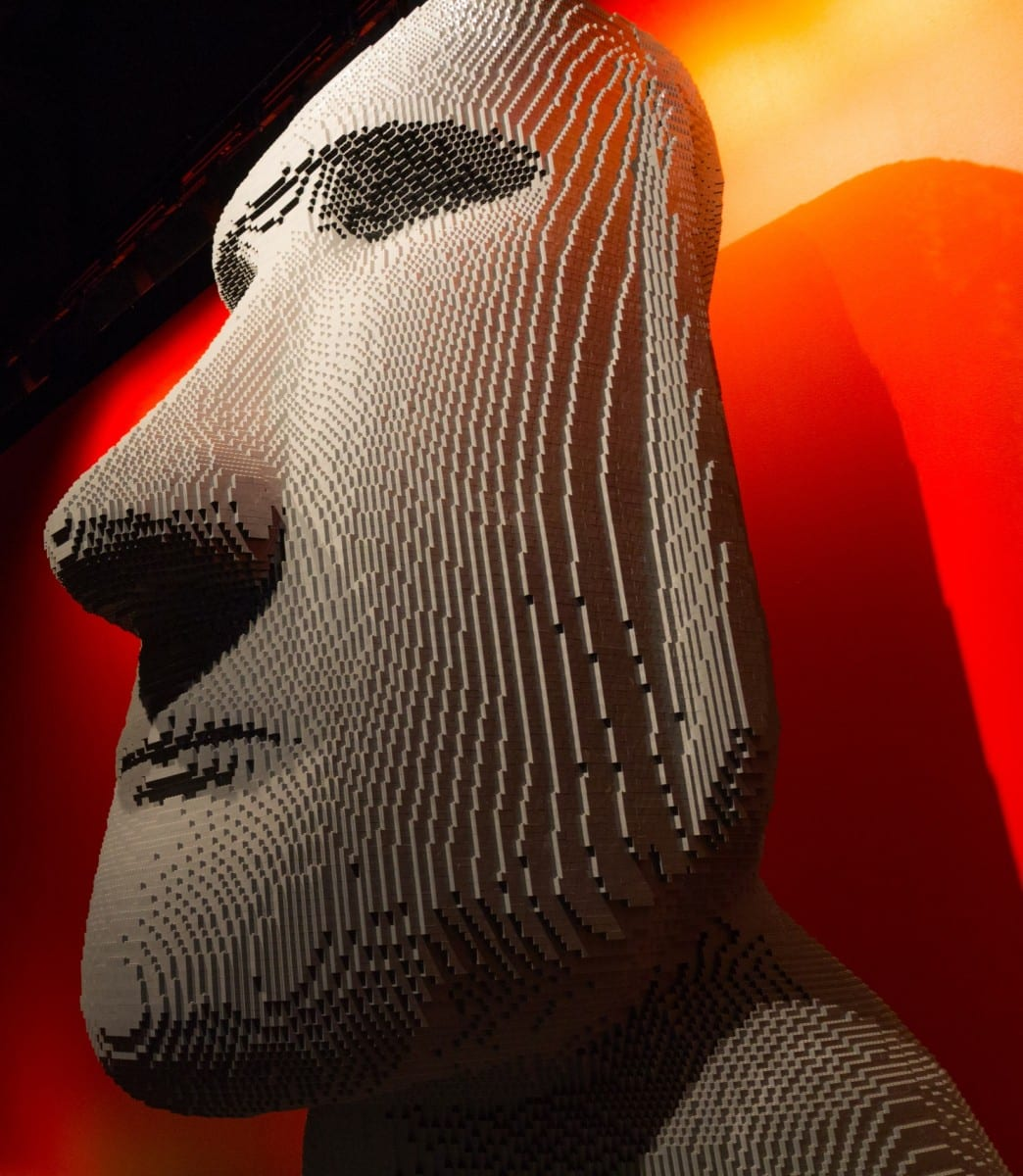 Moai, THE ART OF THE BRICK® exhibition, image courtesy of Emily Bell