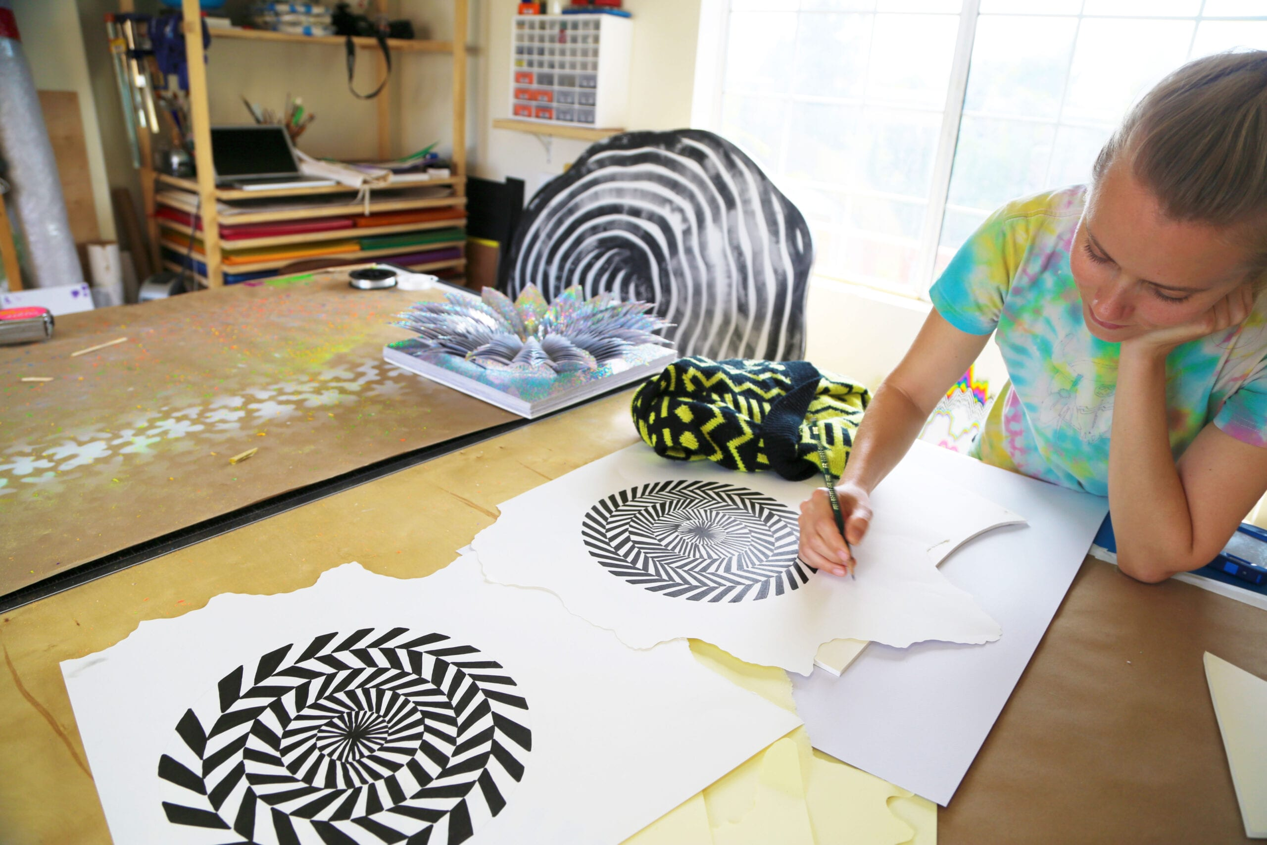 Photos of works in progress and Jen Stark at her studio. Image by Daniel Rolnik, 2013.