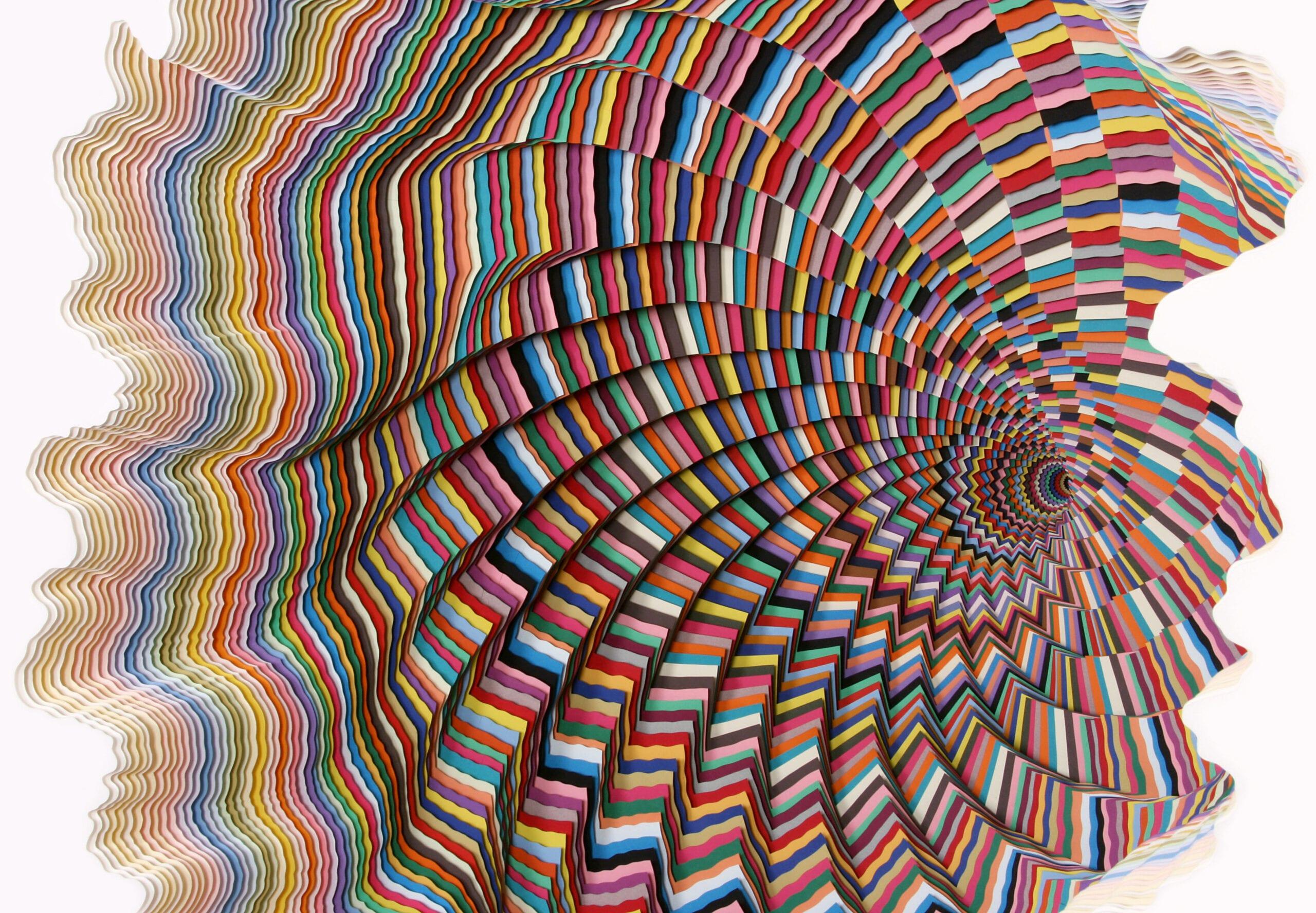 """Jen Stark, Vortextural, Installation of hand-cut acid-free paper, foam board, glue, 42"""" x 35"""" x 30"""", 2013."""