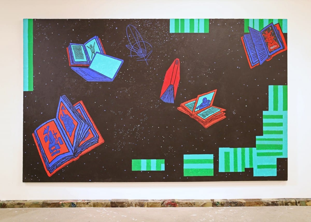 "Derek Boshier,  Made in Space, acrylic on canvas, 84"" x 137"", 2003"