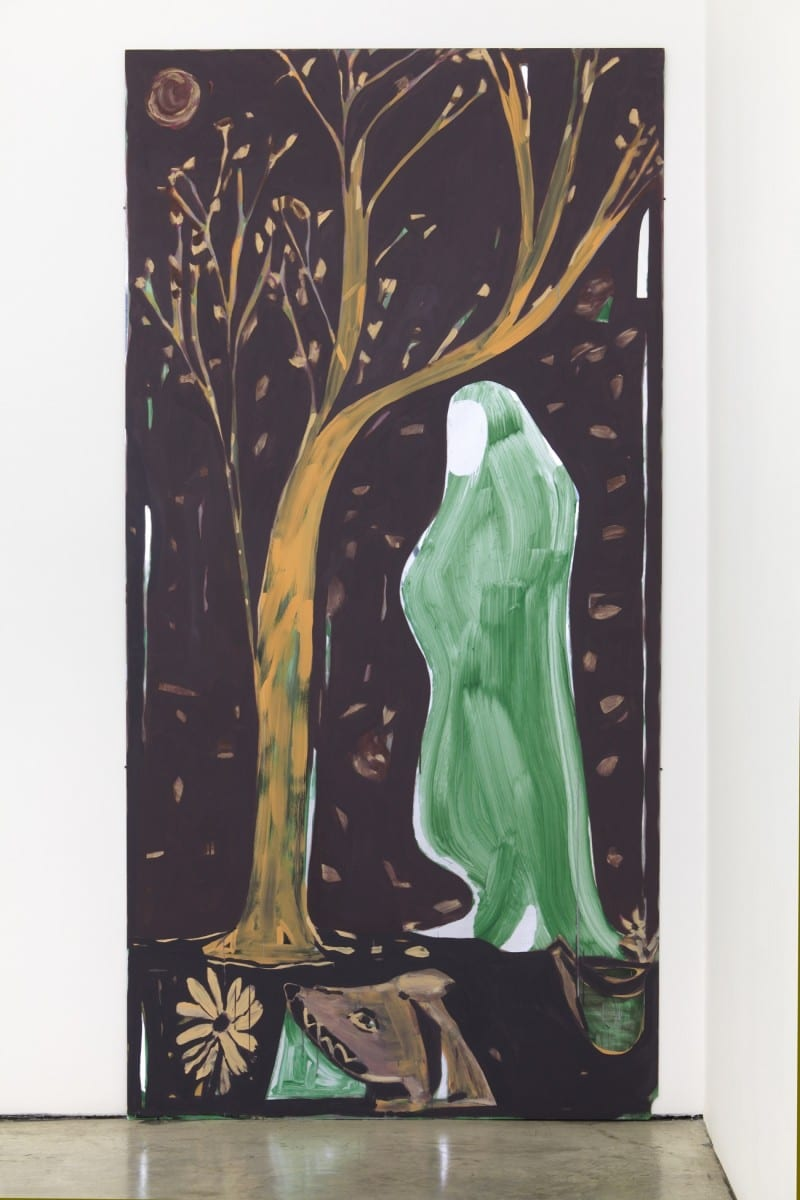 "Aaron Wrinkle, Narrative Painting 2, A figure w/ a Mirror for a Face, for external space and faces, with Dog, Tree, Water Pail and Reflected Surrounding, Latex and Americana craft acrylic on acrylic mirror, 96"" x 48"", 2013"