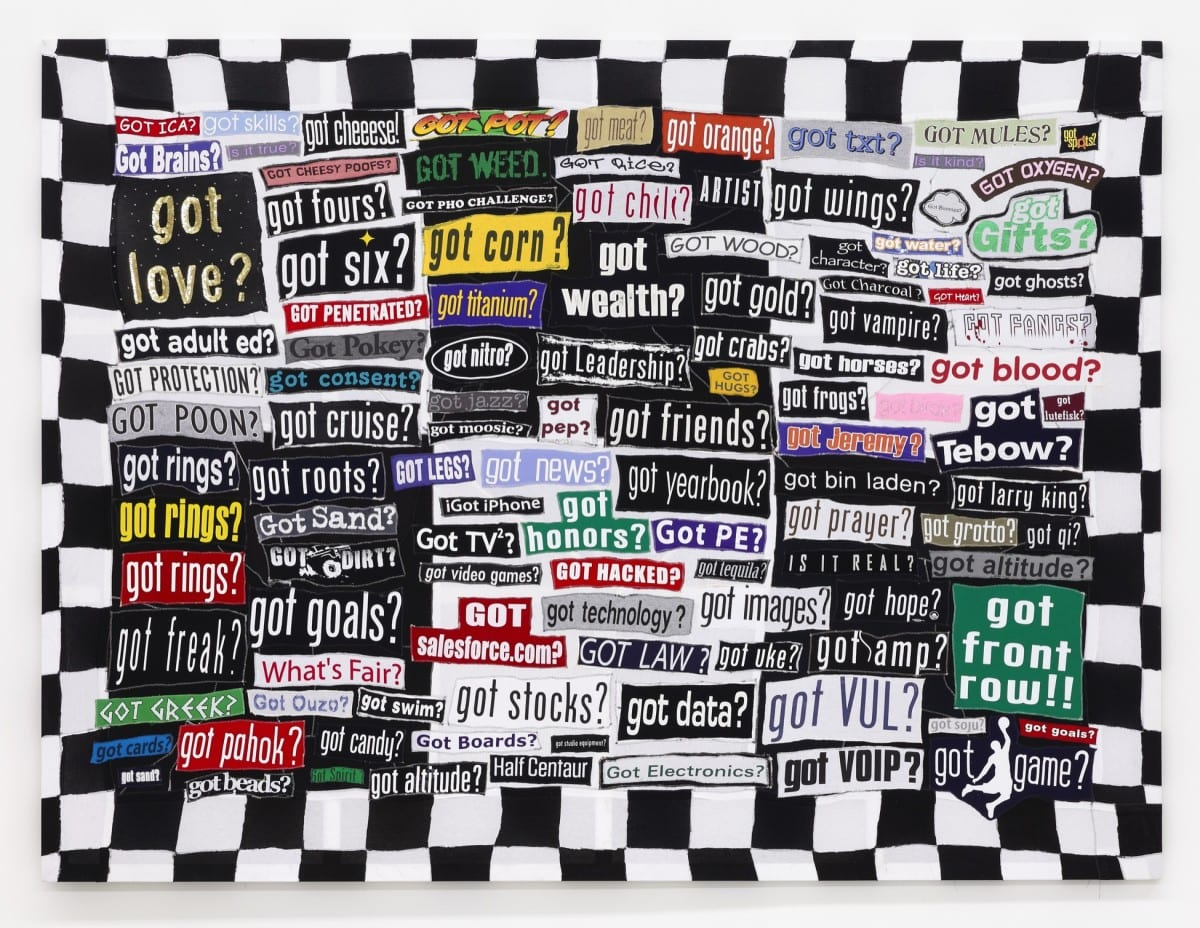 "Michael Decker,  Index of Questions, Found t-shirts, polyester thread, staples, painted wood, hardware, 96"" x 72"" x 1"" 2013"