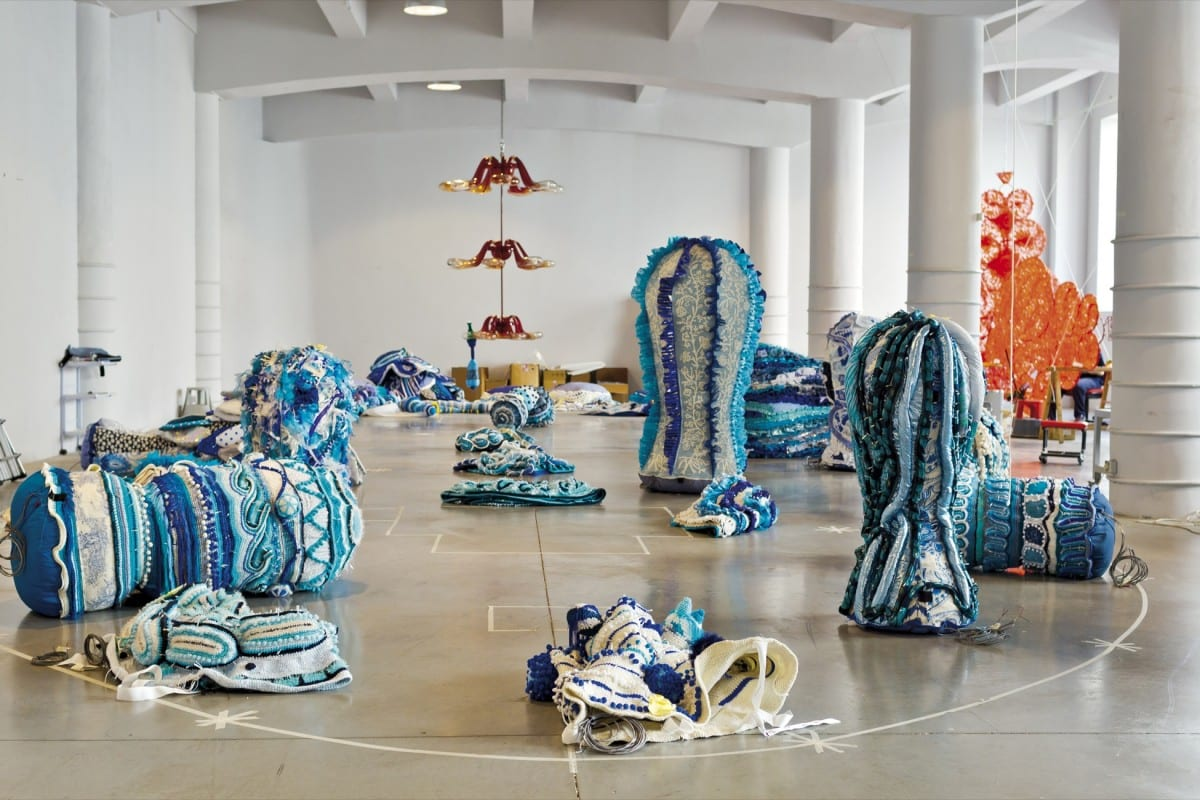 Joana Vasconcelos, Trafaria Praia, 2013.  The Valkyrie Azulejo installation in progress at the artist's studio in Lisbon.  Photograph by Luís Vasconcelos.  © Unidade Infinita Projectos.