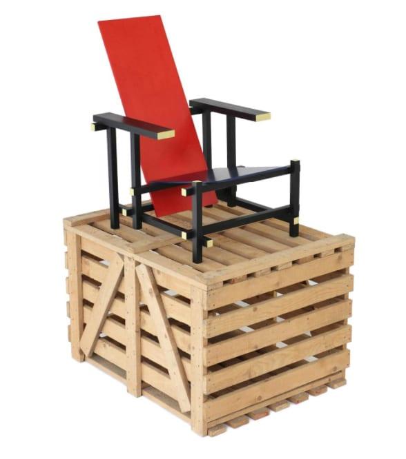 """Gerrit Thomas Rietveld, unused Red Blue Chair with original transport crate, Painted wood, 31 ½"""" x 34 3/10"""" x 26"""", 1919, Executed by Gerard A. van de Groenekan, Galerie VIVID"""