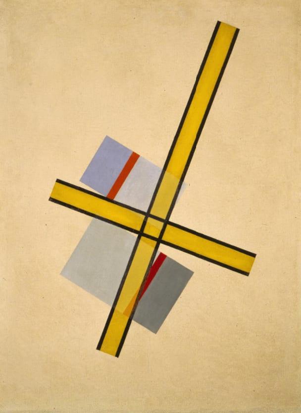 "László Moholy-Nagy, Yellow Cross Q.7, Oil on canvas, 37 ⅘"" x 28"", 1922, Alinari / Art Resource, NY / Moholy-Nagy, Laszlo (1895-1946) © ARS, NY, Galleria nazionale d'arte moderna, Rome"