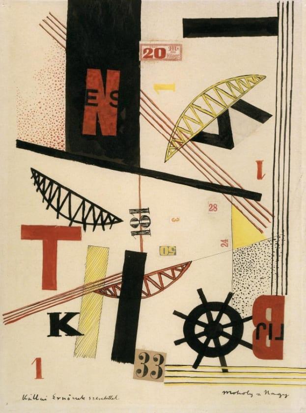 "László Moholy-Nagy, Bridges 1 K 33, Gouache and collage on paper, 13 ⅕"" x 10"", 1920, bpk, Berlin / Kupferstichkabinett, Staatliche Museen, Berlin, Germany, Photo By Joerg P. Anders /Art Resource, NY / Moholy-Nagy, Laszlo (1895-1946) © ARS, NY, Kupferstichkabinett, Staatliche Museen, Berlin"