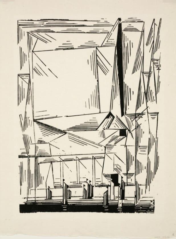 "Lyonel Feininger, Gelmeroda, Woodcut, 13 ⅛"" x 9 ½"", 1920 © Lyonel Feininger / Artists Rights Society (ARS), New York / VG Bild-Kunst, Bonn, Dallas Museum of Art"
