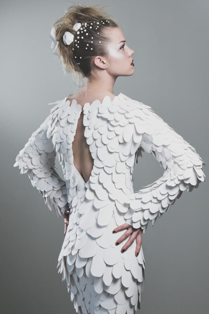 White Reef, Paper dress, May 2013, model: Chelsea Chisholm, hair: Adrianne Turner, photo by Nicole Small