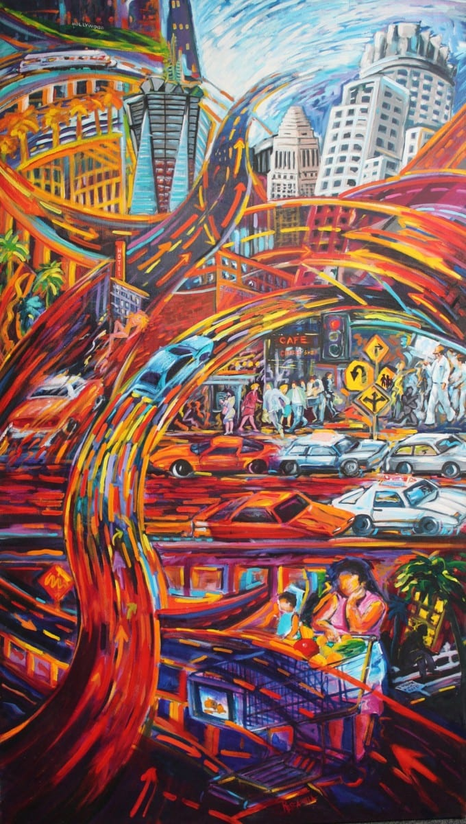 "Rafael Escamilla, City, Acrylic on canvas, 48"" x 84"", 1998"