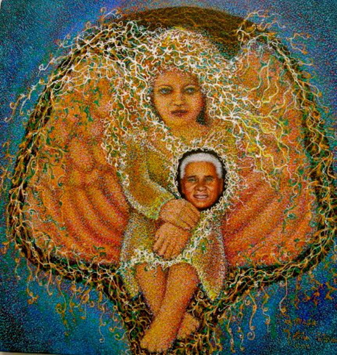 "Ester Petchar, Magu & Angel, Pointillism, 14"" x 14"", 2012"