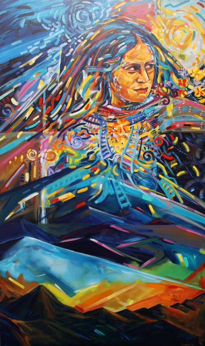 """Rafael Escamilla, Mountain Festival, Acrylic on canvas, 36"""" x 60"""", 1997"""
