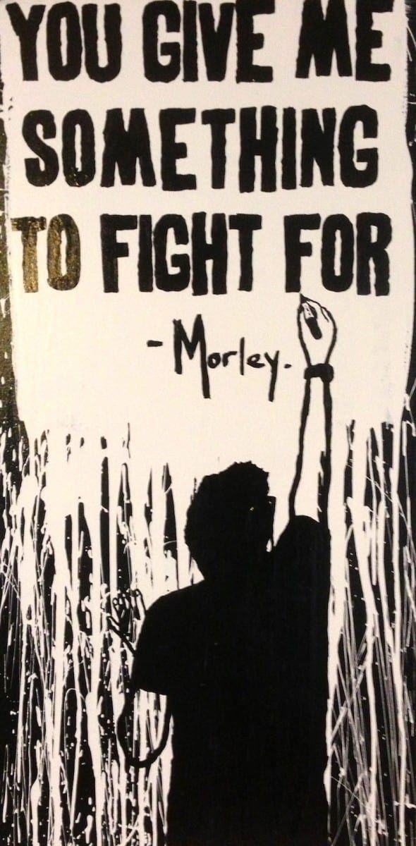 "Morley, Something To Fight For, acrylic and marker on canvas, 24"" x 48"""