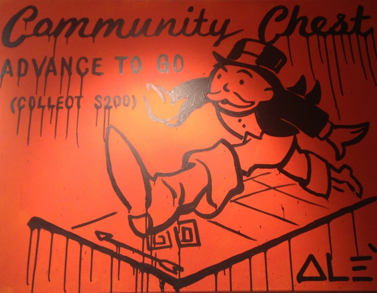 "Alec Monopoly, Community Chest Advance to Go, acrylic on canvas, 48"" x 36"""