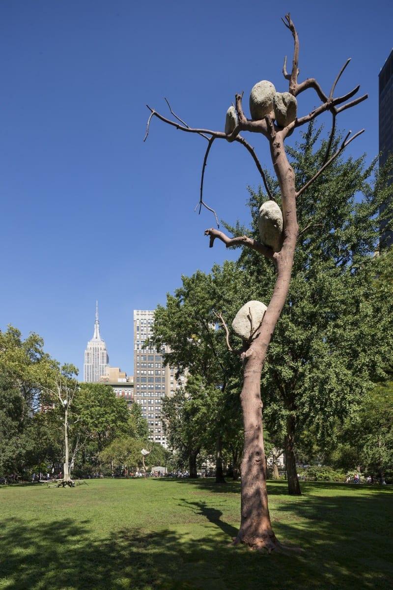 Installation view of Giuseppe Penone's Ideas of Stone (Idee di pietra) in Madison Square Park, 2013, photography by James Ewing, © of Madison Square Park Conservancy