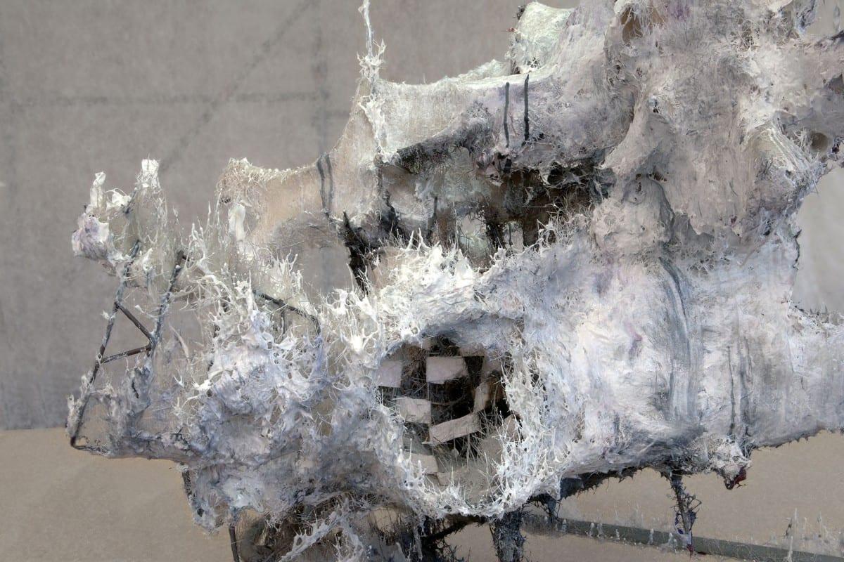 Heringa/ Van Kalsbeek, Area of impact, steel, paper, resin, 107 x 119 x 113 cm, 2013