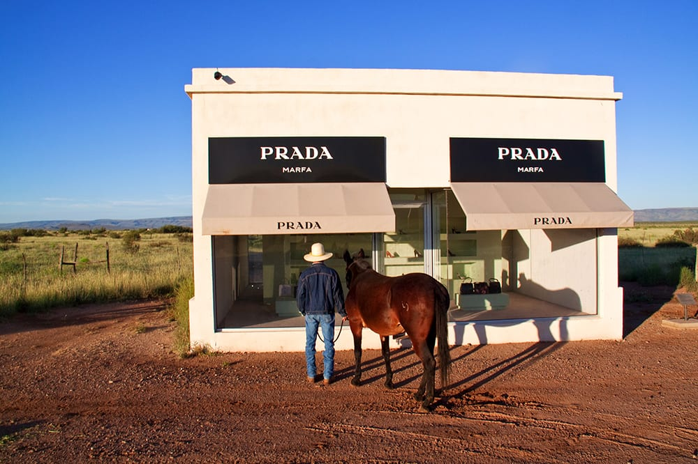 Gray Malin, Cowboy and Mule from Prada Marfa series, 2010, print on archival luster paper ©Gray Malin 2013