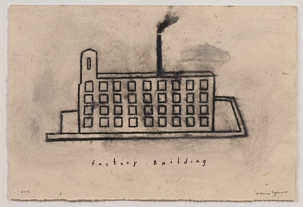 "David Lynch, Factory Building, mixed media on paper, 15¼""x 22¼"", 2012. Photo Credit: Robert Wedemeyer. Courtesy of the artist and Kayne Griffin Corcoran, Los Angeles."