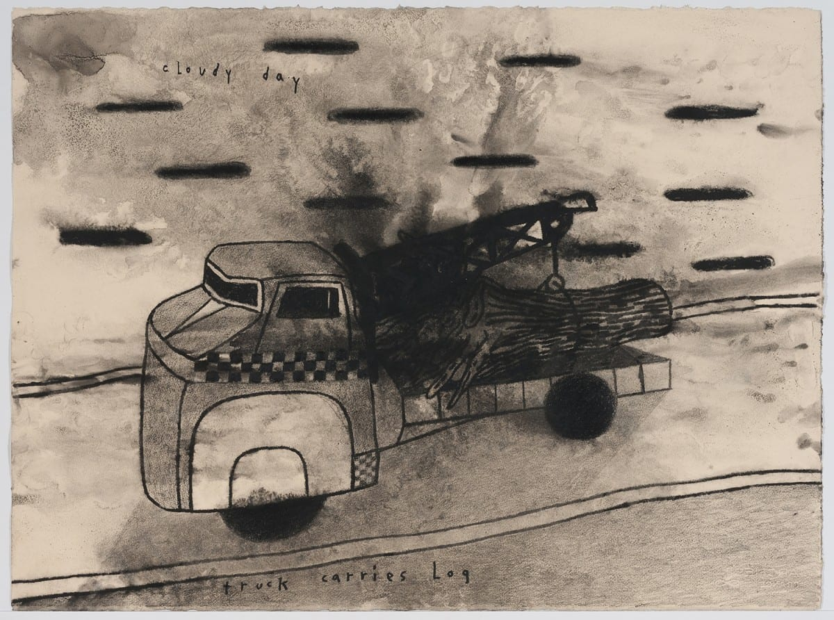 "David Lynch, Truck Carries Log, mixed media on paper, 22¼""x 30"", 2013. Photo Credit: Robert Wedemeyer. Courtesy of the artist and Kayne Griffin Corcoran, Los Angeles."
