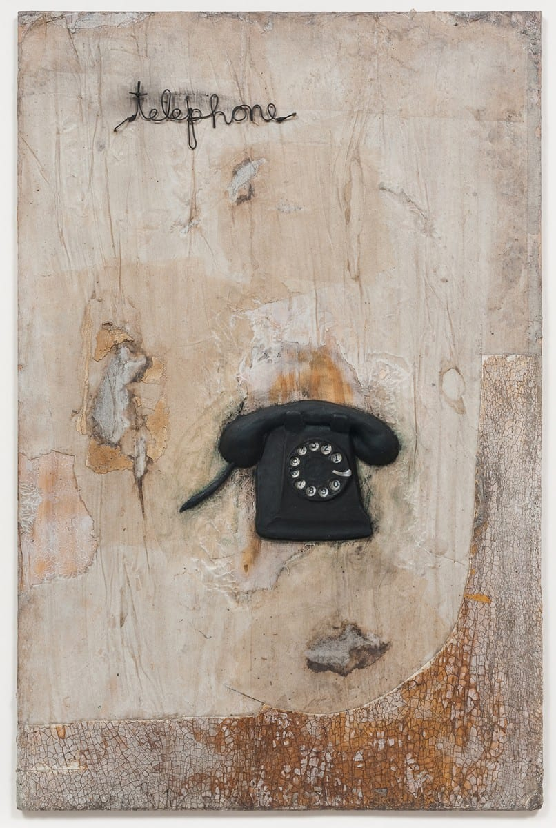 "David Lynch, Telephone, oil and mixed media on canvas, 40⅜""x28⅜"" framed. Photo Credit: Robert Wedemeyer. Courtesy of the artist and Kayne Griffin Corcoran, Los Angeles."
